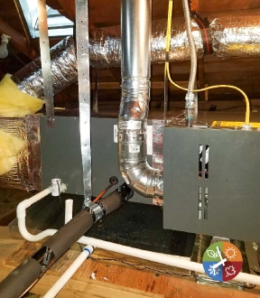 Furnace Installation with coil in attic for home