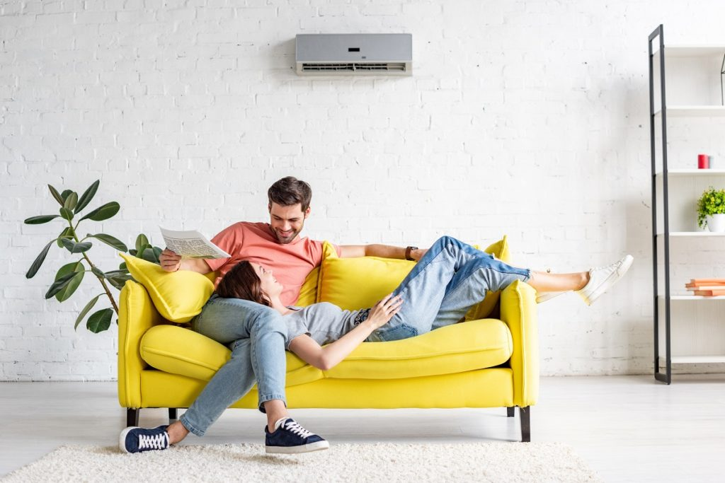 Couple indoors with hvac